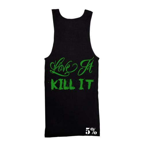 5% Nutrition Apparel Love It Kill It / 5% Men's Ribbed Tank Top Black/Green