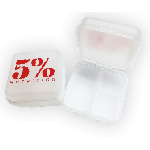 5% Nutrition Pillbox Clear/Red