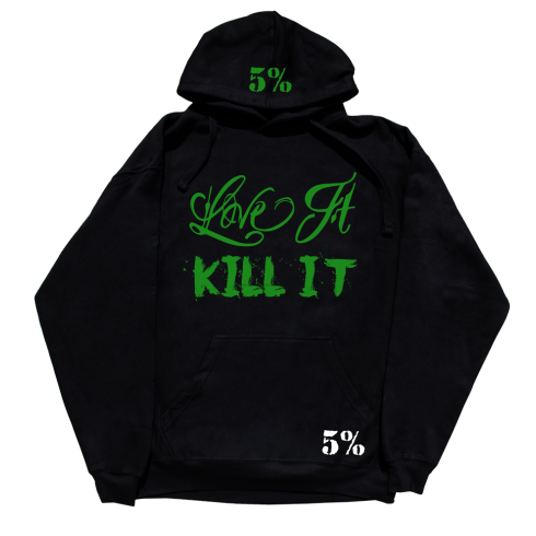Rich Piana 5% Nutrition Apparel Love It Kill It / 5%Er / 5% For Life Hoodie Black/Green