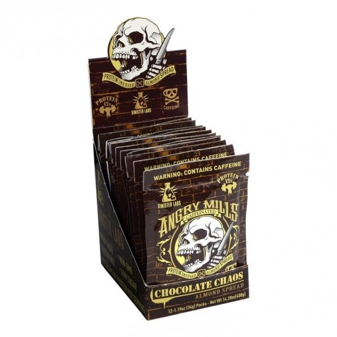 Sinister Labs Angry Mills Caffeinated Almond Spread 12 X 34G Sachets
