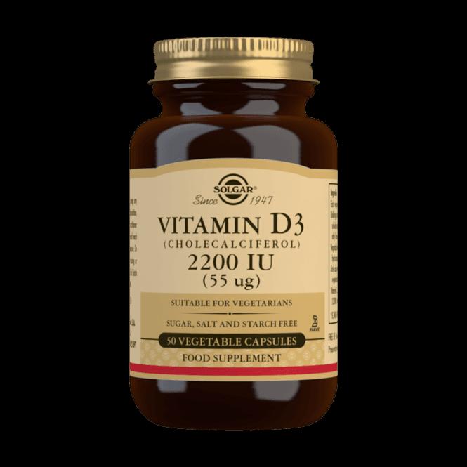 Solgar Vitamin D3 2200 IU (55 µg) 50 Veg. Caps