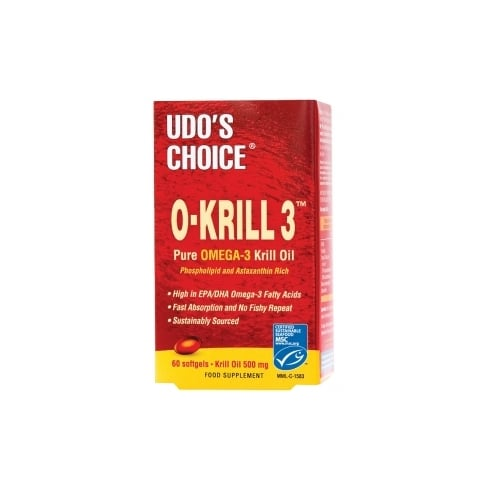 Udos Choice O-Krill 3 Omega 3 Krill Oil 500mg 60 Caps